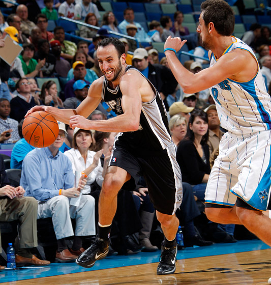 Manu Ginobili Drives on Marco Belinelli